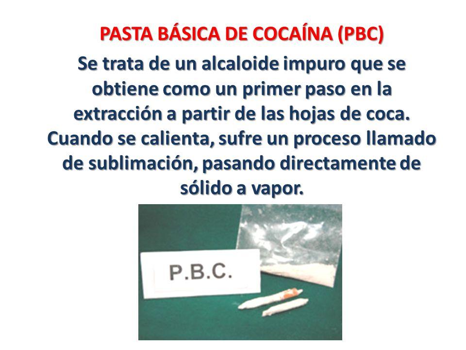 PASTA BÁSICA DE COCAÍNA (PBC) Se trata de un alcaloide impuro que se obtiene como un primer paso en la extracción a partir de las hojas de coca. Cuand