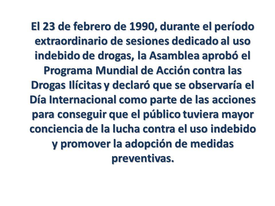 El 23 de febrero de 1990, durante el período extraordinario de sesiones dedicado al uso indebido de drogas, la Asamblea aprobó el Programa Mundial de