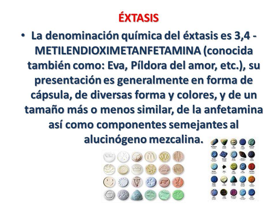 ÉXTASIS La denominación química del éxtasis es 3,4 - METILENDIOXIMETANFETAMINA (conocida también como: Eva, Píldora del amor, etc.), su presentación e