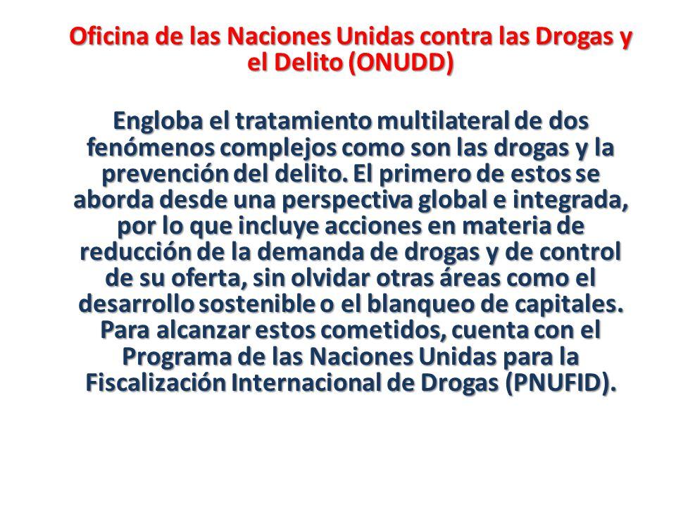 Oficina de las Naciones Unidas contra las Drogas y el Delito (ONUDD) Engloba el tratamiento multilateral de dos fenómenos complejos como son las droga