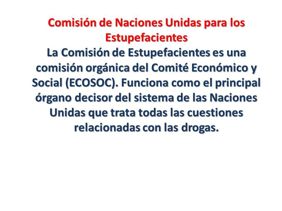 Comisión de Naciones Unidas para los Estupefacientes La Comisión de Estupefacientes es una comisión orgánica del Comité Económico y Social (ECOSOC). F