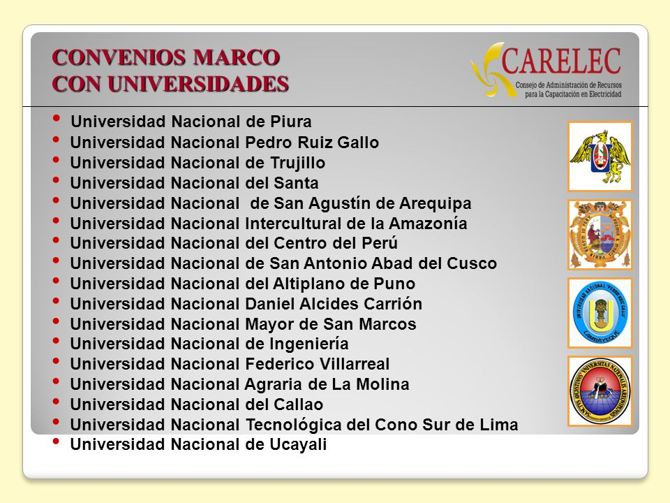 CONVENIOS MARCO CON UNIVERSIDADES Universidad Nacional de Piura Universidad Nacional Pedro Ruiz Gallo Universidad Nacional de Trujillo Universidad Nac
