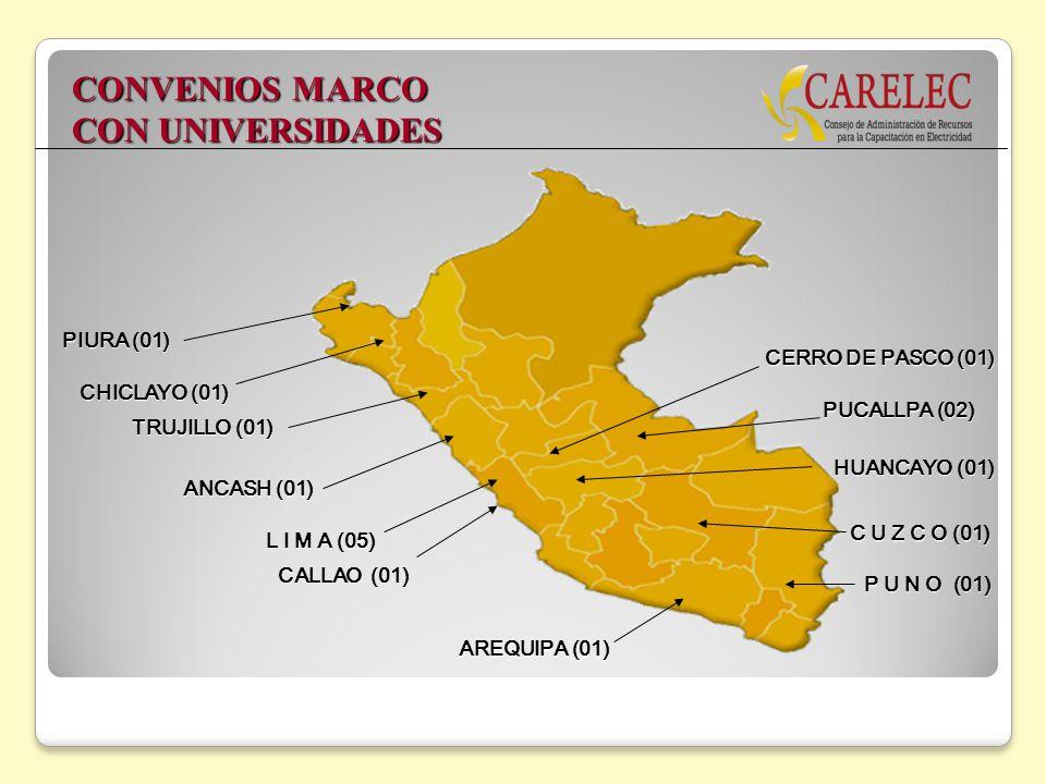 CHICLAYO (01) L I M A (05) P U N O (01) HUANCAYO (01) PUCALLPA (02) C U Z C O (01) TRUJILLO (01) ANCASH (01) AREQUIPA (01) CALLAO (01) PIURA (01) CERR