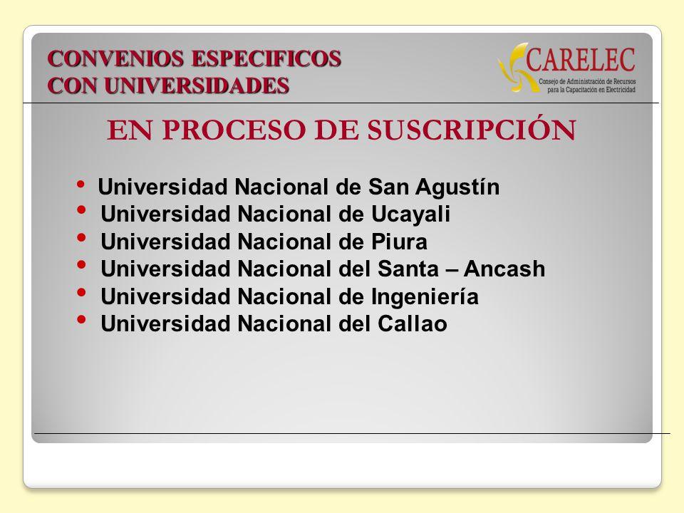 EN PROCESO DE SUSCRIPCIÓN Universidad Nacional de San Agustín Universidad Nacional de Ucayali Universidad Nacional de Piura Universidad Nacional del S