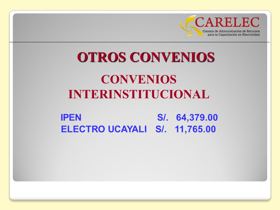CONVENIOS INTERINSTITUCIONAL IPEN S/. 64,379.00 ELECTRO UCAYALI S/. 11,765.00 OTROS CONVENIOS