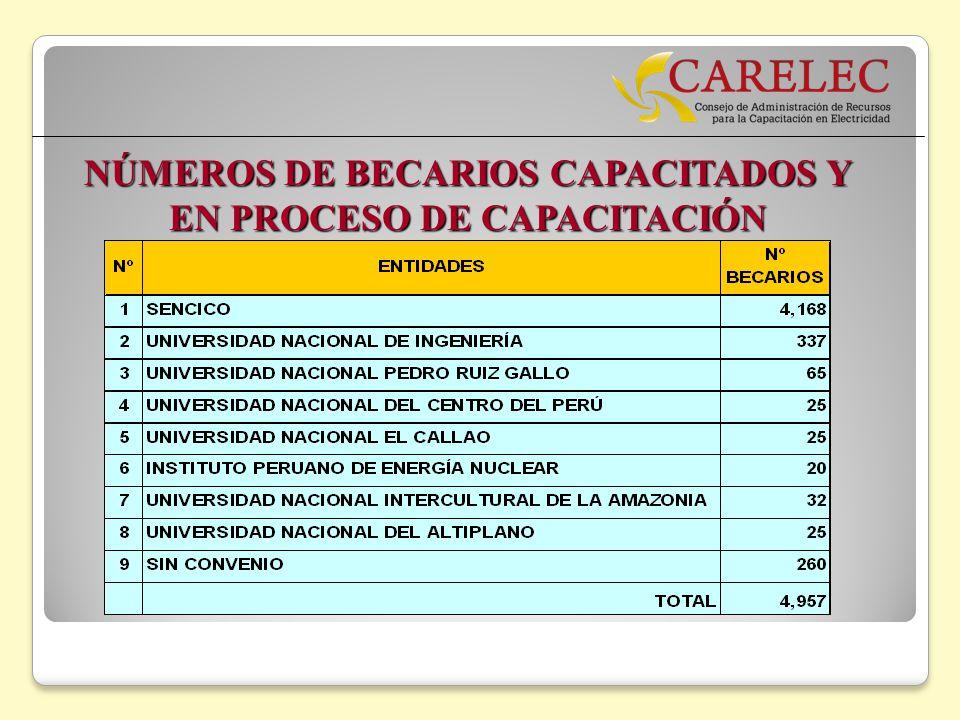 NÚMEROS DE BECARIOS CAPACITADOS Y EN PROCESO DE CAPACITACIÓN