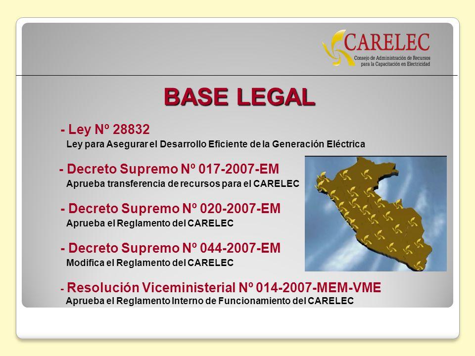 BASE LEGAL - Ley Nº 28832 Ley para Asegurar el Desarrollo Eficiente de la Generación Eléctrica - Decreto Supremo Nº 017-2007-EM Aprueba transferencia