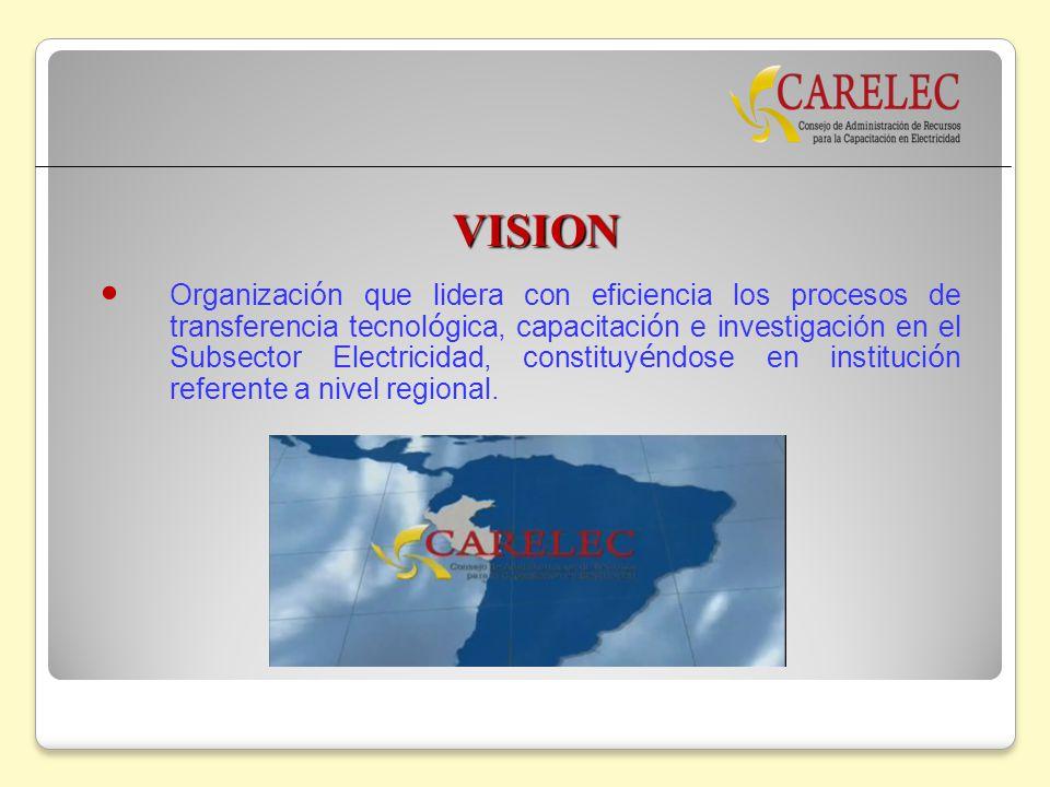 VISION Organizaci ó n que lidera con eficiencia los procesos de transferencia tecnol ó gica, capacitaci ó n e investigación en el Subsector Electricid