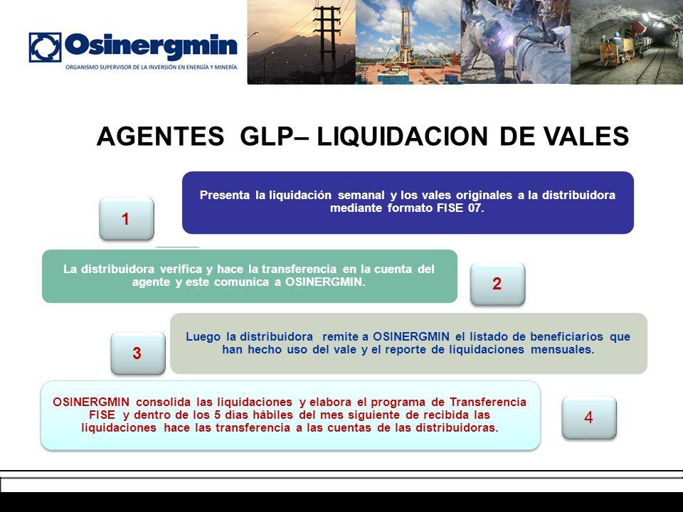 AGENTES AUTORIZADOS– COBRO DE LOS VALES Presenta la liquidación semanal y los vales originales a la distribuidora mediante formato FISE 07. La distrib