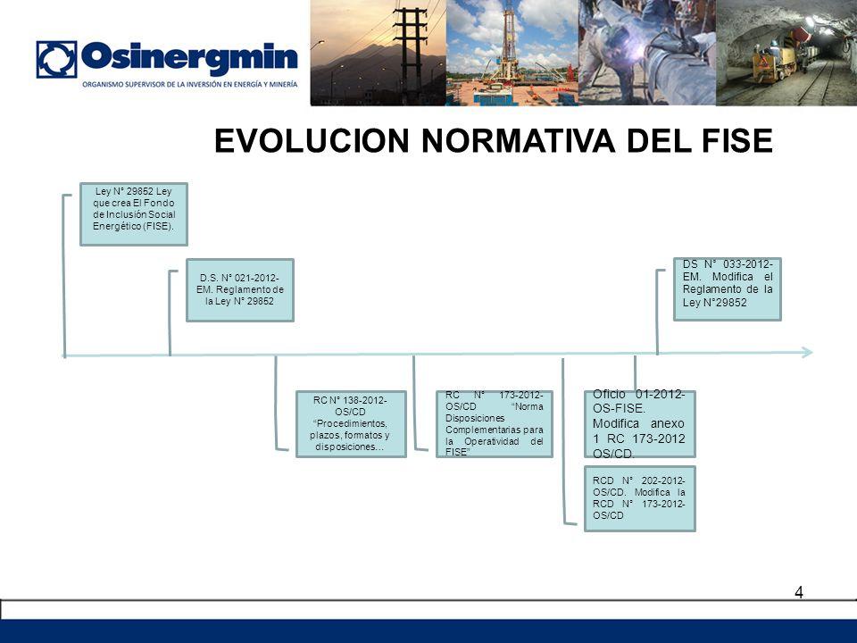 4 Ley N° 29852 Ley que crea El Fondo de Inclusión Social Energético (FISE). D.S. N° 021-2012- EM. Reglamento de la Ley N° 29852 DS N° 033-2012- EM. Mo