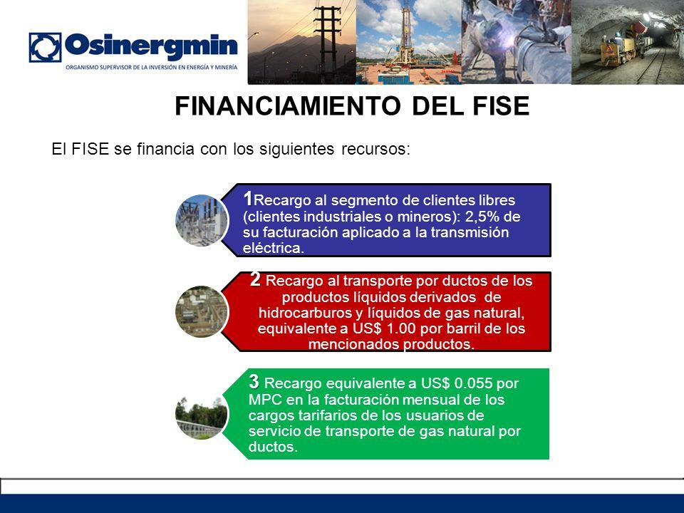 FINANCIAMIENTO DEL FISE El FISE se financia con los siguientes recursos: 1 1 Recargo al segmento de clientes libres (clientes industriales o mineros):