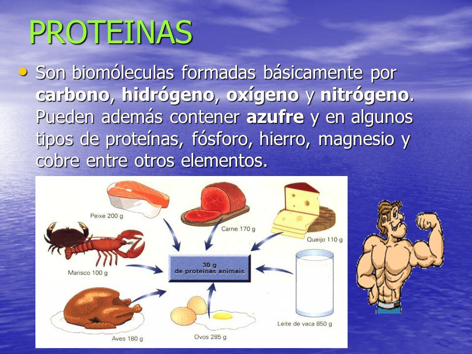 PROTEINAS Son biomóleculas formadas básicamente por carbono, hidrógeno, oxígeno y nitrógeno. Pueden además contener azufre y en algunos tipos de prote