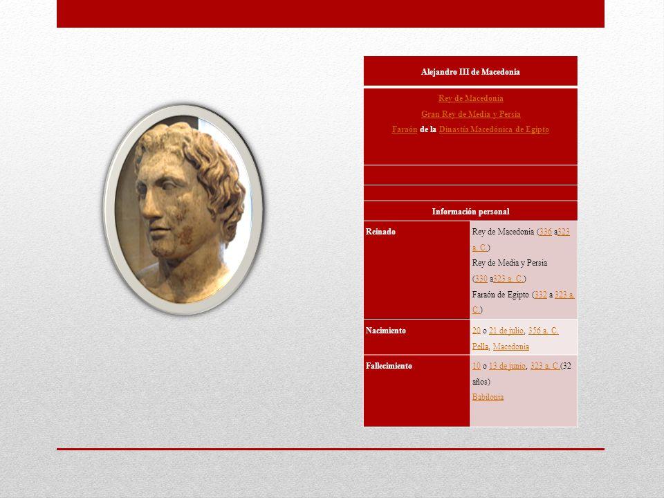 Alejandro III de Macedonia Rey de Macedonia Gran Rey de Media y Persia FaraónRey de Macedonia Gran Rey de Media y Persia Faraón de la Dinastía Macedón