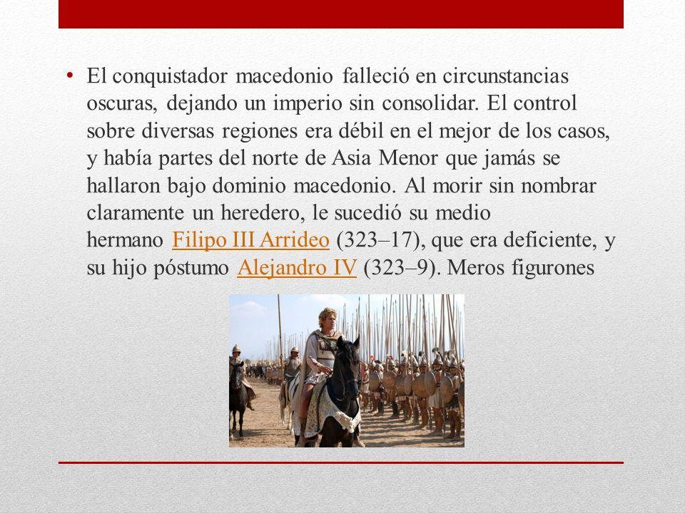 El conquistador macedonio falleció en circunstancias oscuras, dejando un imperio sin consolidar. El control sobre diversas regiones era débil en el me