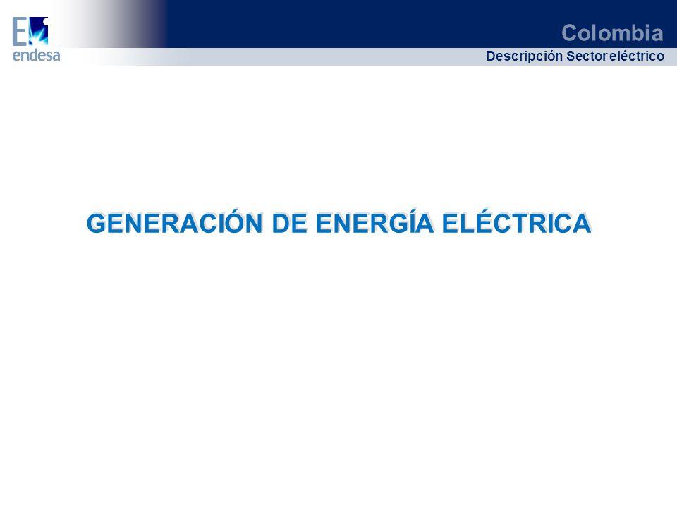 Colombia Descripción Sector eléctrico GENERACIÓN DE ENERGÍA ELÉCTRICA