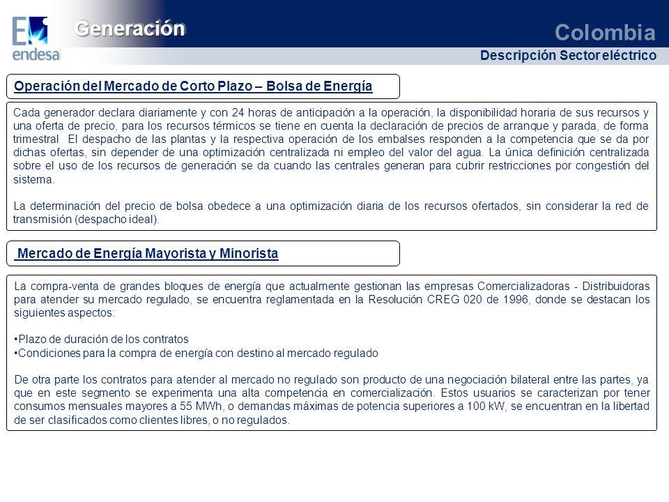 Colombia Descripción Sector eléctrico GeneraciónGeneración Operación del Mercado de Corto Plazo – Bolsa de Energía Cada generador declara diariamente