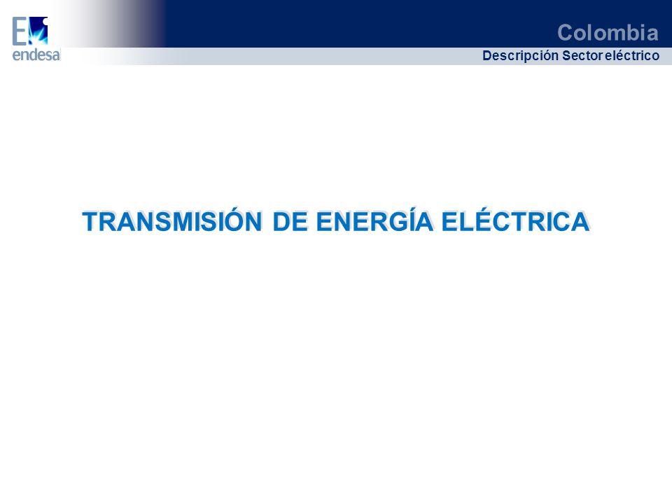 Colombia Descripción Sector eléctrico TRANSMISIÓN DE ENERGÍA ELÉCTRICA