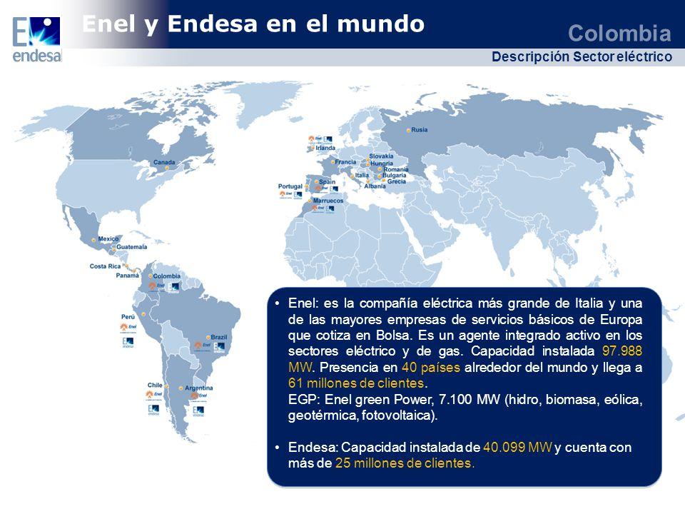 Colombia Descripción Sector eléctrico Colombia Descripción Sector eléctrico Chile Brasil Colombia Perú Total de Plantas: 51 Hidráulica: 61,9% Térmica: