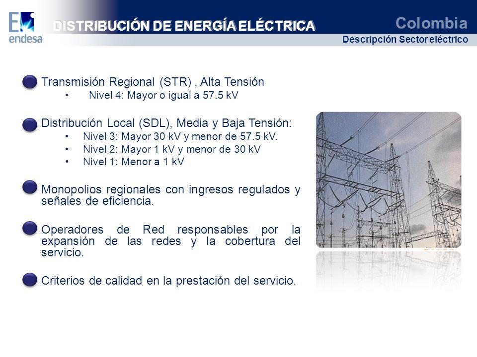 Colombia Descripción Sector eléctrico Transmisión Regional (STR), Alta Tensión Nivel 4: Mayor o igual a 57.5 kV Distribución Local (SDL), Media y Baja