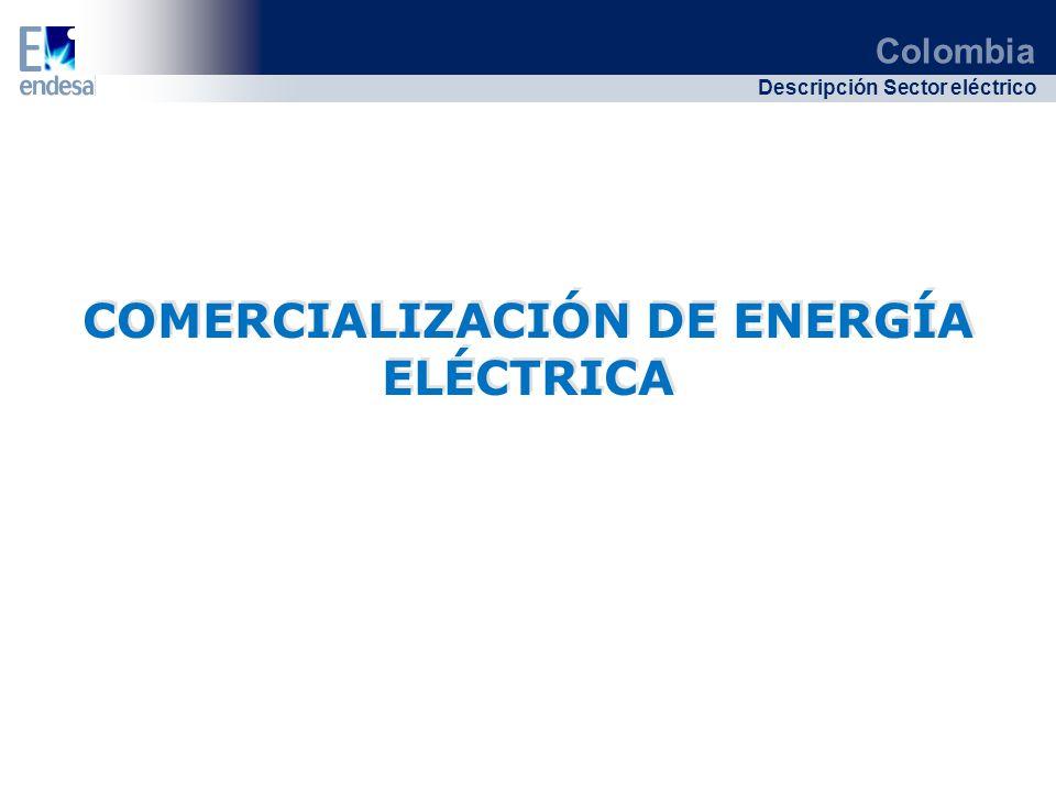 Colombia Descripción Sector eléctrico COMERCIALIZACIÓN DE ENERGÍA ELÉCTRICA