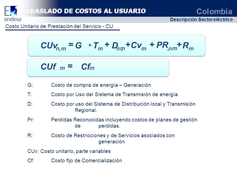 Colombia Descripción Sector eléctrico ++ mnmnmmn,, mm R PR Cv DTG CUv ++= +, ++ TRASLADO DE COSTOS AL USUARIO G: Costo de compra de energía – Generaci