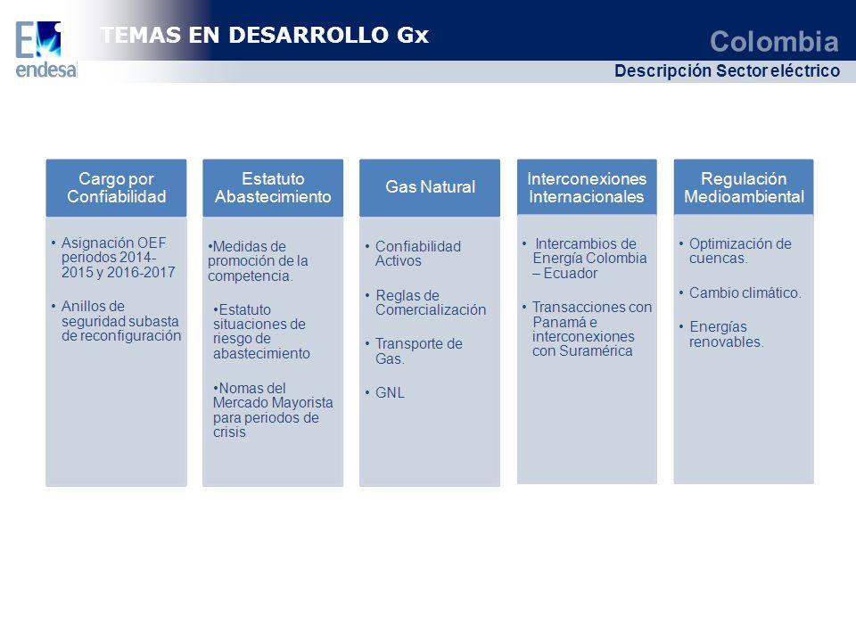 Colombia Descripción Sector eléctrico TEMAS EN DESARROLLO Gx
