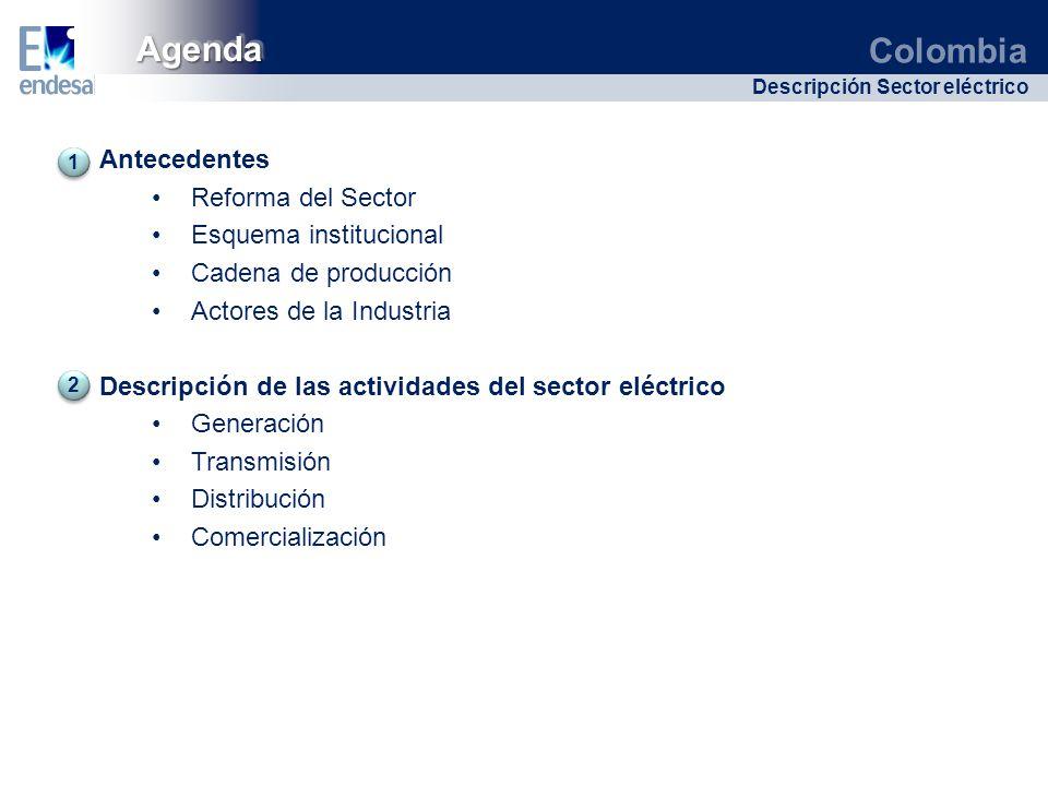 Colombia Descripción Sector eléctrico Antecedentes Reforma del Sector Esquema institucional Cadena de producción Actores de la Industria Descripción d