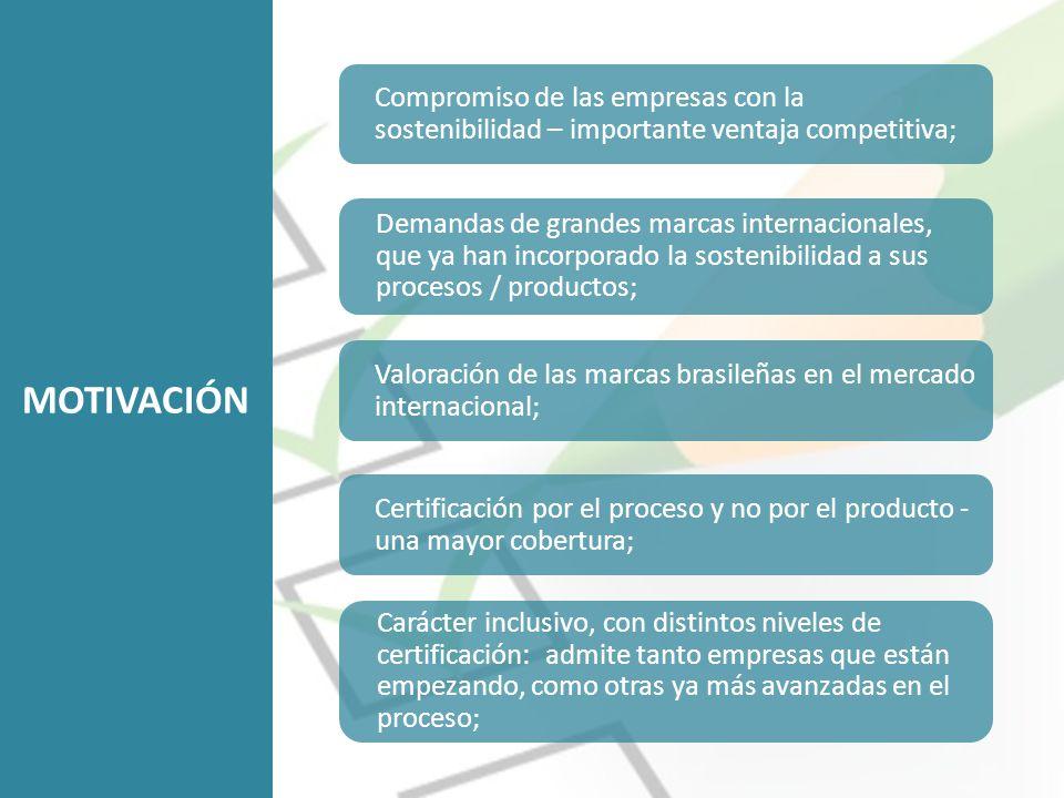 Compromiso de las empresas con la sostenibilidad – importante ventaja competitiva; Demandas de grandes marcas internacionales, que ya han incorporado la sostenibilidad a sus procesos / productos; Valoración de las marcas brasileñas en el mercado internacional; Certificación por el proceso y no por el producto - una mayor cobertura; MOTIVACIÓN Carácter inclusivo, con distintos niveles de certificación: admite tanto empresas que están empezando, como otras ya más avanzadas en el proceso;