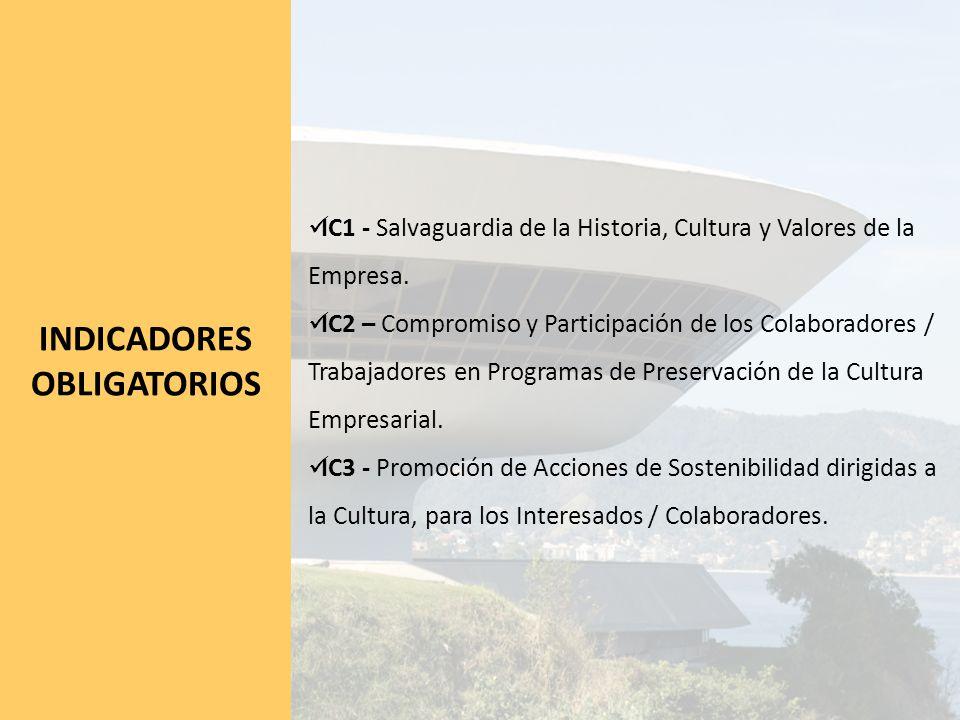 INDICADORES OBLIGATORIOS IC1 - Salvaguardia de la Historia, Cultura y Valores de la Empresa.