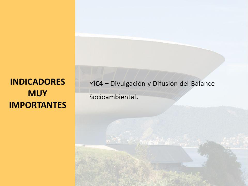 INDICADORES MUY IMPORTANTES IC4 – Divulgación y Difusión del Balance Socioambiental.