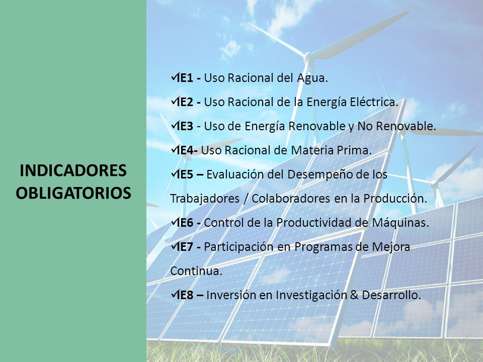 INDICADORES OBLIGATORIOS IE1 - Uso Racional del Agua.