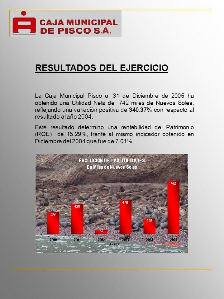 La Caja Municipal Pisco al 31 de Diciembre de 2005 ha obtenido una Utilidad Neta de 742 miles de Nuevos Soles, reflejando una variación positiva de 340.37% con respecto al resultado al año 2004.