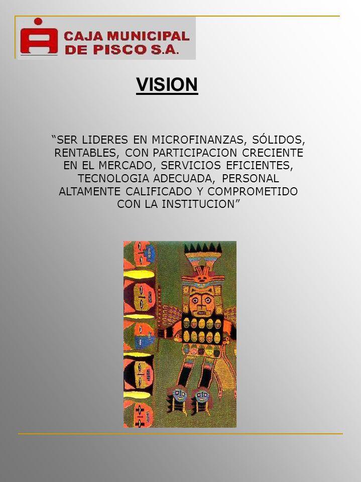 VISION SER LIDERES EN MICROFINANZAS, SÓLIDOS, RENTABLES, CON PARTICIPACION CRECIENTE EN EL MERCADO, SERVICIOS EFICIENTES, TECNOLOGIA ADECUADA, PERSONAL ALTAMENTE CALIFICADO Y COMPROMETIDO CON LA INSTITUCION