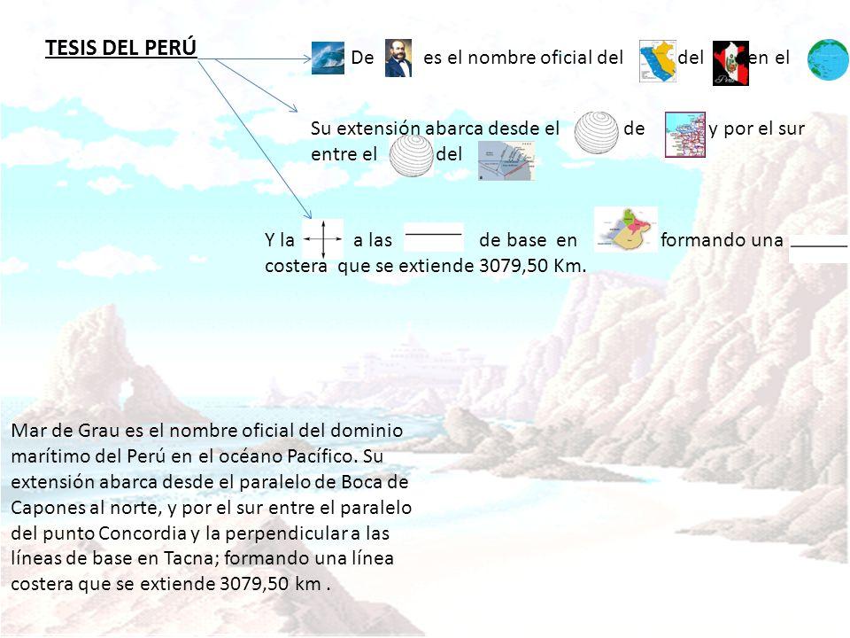 TESIS DEL PERÚ Mar de Grau es el nombre oficial del dominio marítimo del Perú en el océano Pacífico. Su extensión abarca desde el paralelo de Boca de