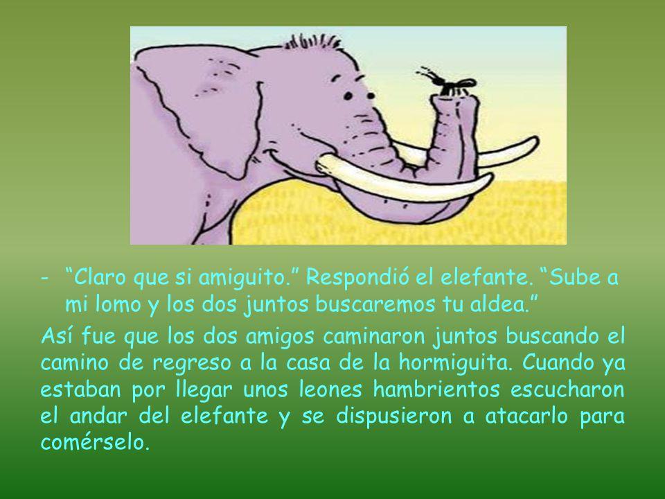 El elefante le respondió: -Discúlpame amiguito, caminaba distraído y no te vi.