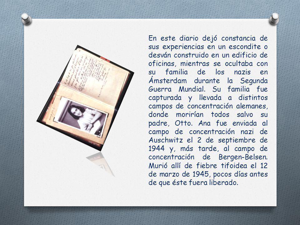 El 12 de junio de 1942, Ana Frank cumple trece años. Por su cumpleaños le regalan un diario. Es su mejor regalo. Comienza a escribir en él enseguida: