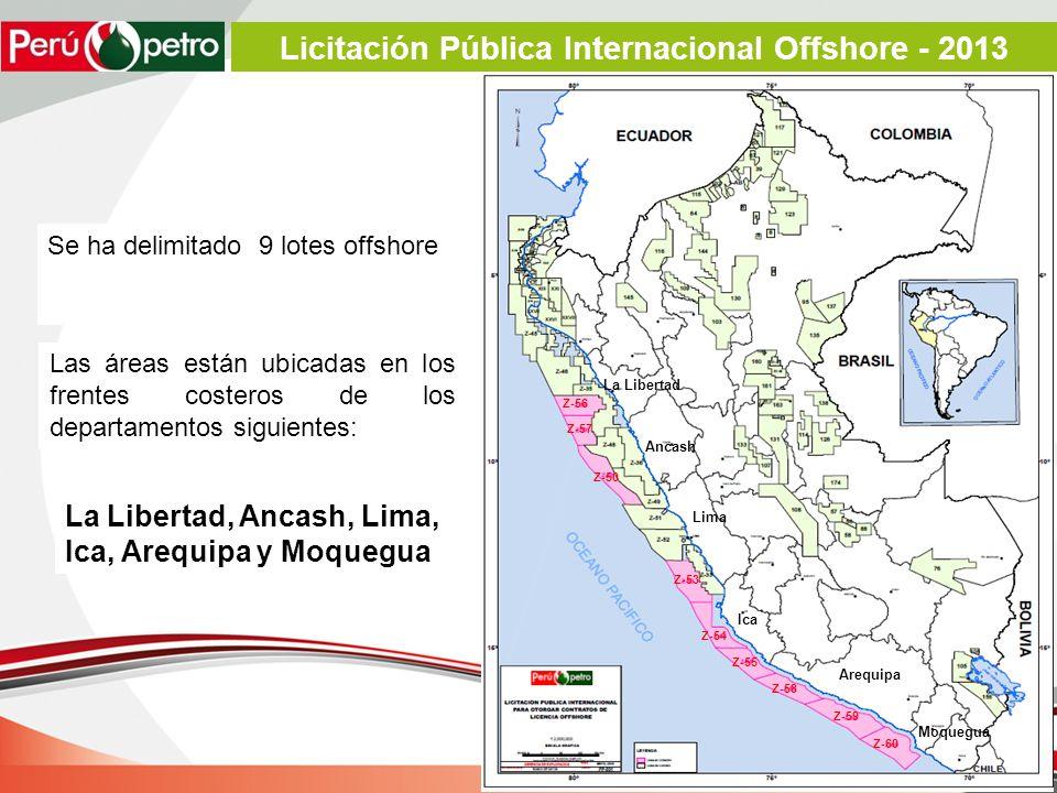 Se ha delimitado 9 lotes offshore Las áreas están ubicadas en los frentes costeros de los departamentos siguientes: La Libertad, Ancash, Lima, Ica, Arequipa y Moquegua La Libertad Ancash Lima Ica Arequipa Z-56 Z-57 Z-50 Z-53 Z-54 Z-55 Z-58 Z-59 Z-60 Moquegua Licitación Pública Internacional Offshore - 2013