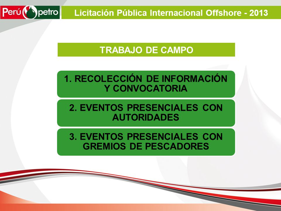 TRABAJO DE CAMPO 1. RECOLECCIÓN DE INFORMACIÓN Y CONVOCATORIA 2. EVENTOS PRESENCIALES CON AUTORIDADES 3. EVENTOS PRESENCIALES CON GREMIOS DE PESCADORE