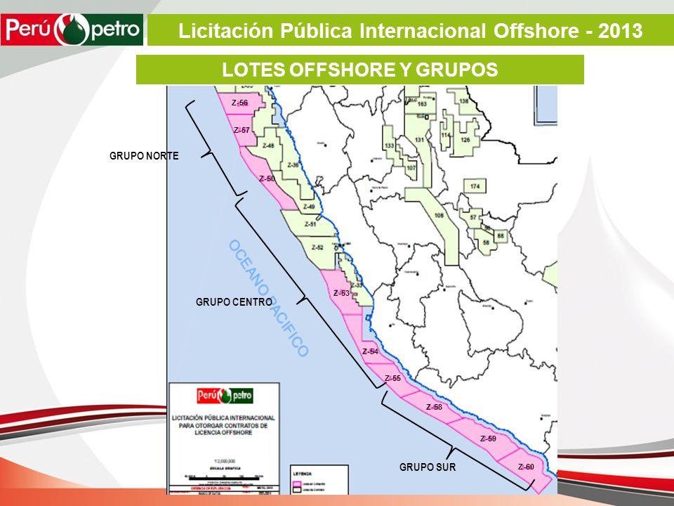 LOTES OFFSHORE Y GRUPOS GRUPO NORTE GRUPO CENTRO GRUPO SUR Z-57 Z-56 Z-50 Z-53 Z-54 Z-55 Z-58 Z-59 Z-60 Licitación Pública Internacional Offshore - 2013