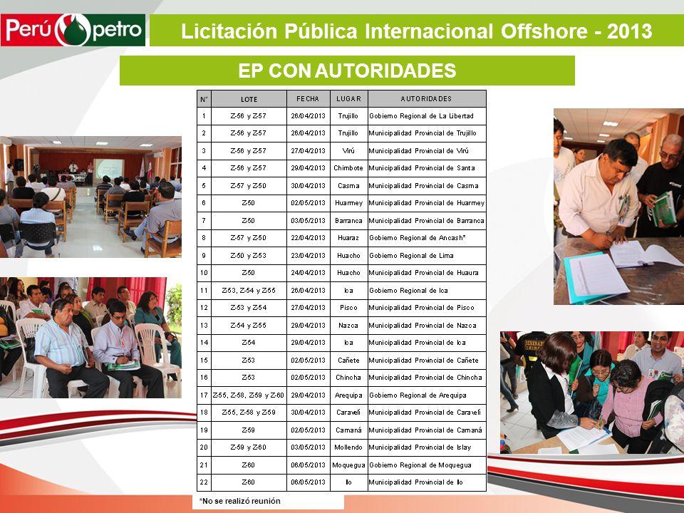 EP CON AUTORIDADES *No se realizó reunión Licitación Pública Internacional Offshore - 2013