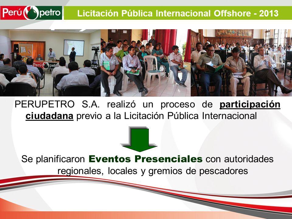 PERUPETRO S.A. realizó un proceso de participación ciudadana previo a la Licitación Pública Internacional Se planificaron Eventos Presenciales con aut