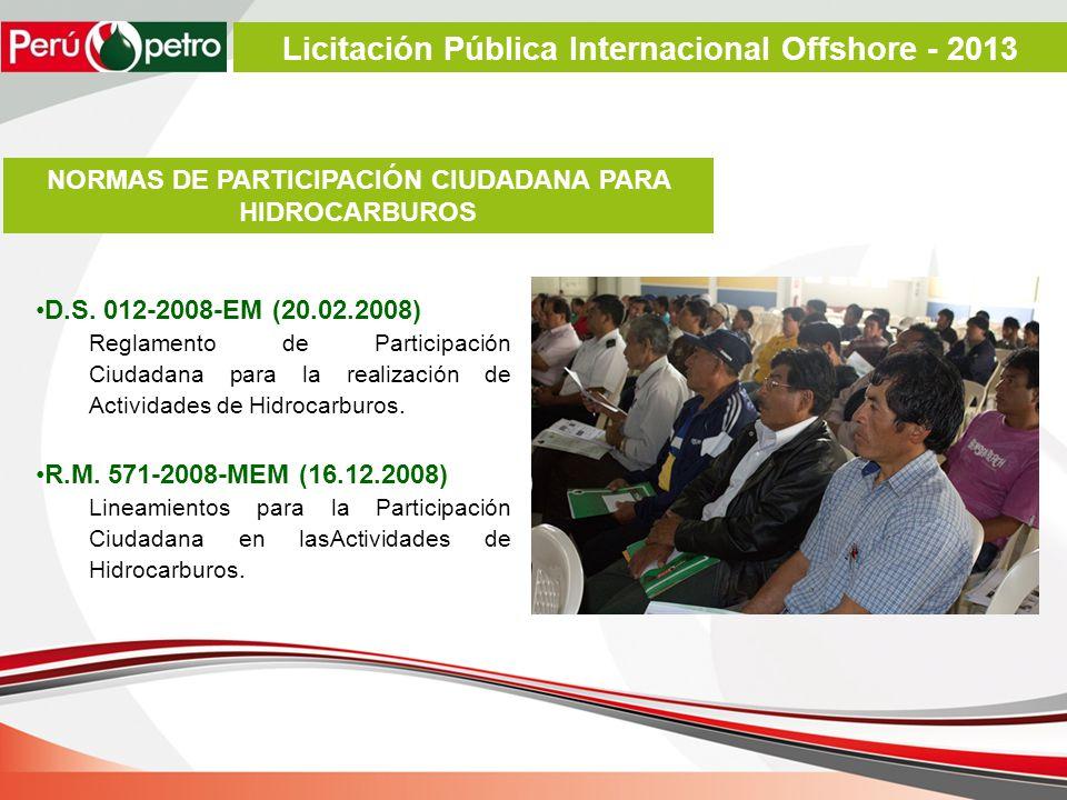 D.S. 012-2008-EM (20.02.2008) Reglamento de Participación Ciudadana para la realización de Actividades de Hidrocarburos. R.M. 571-2008-MEM (16.12.2008