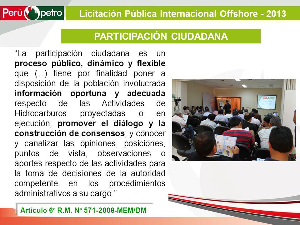 La participación ciudadana es un proceso público, dinámico y flexible que (...) tiene por finalidad poner a disposición de la población involucrada in