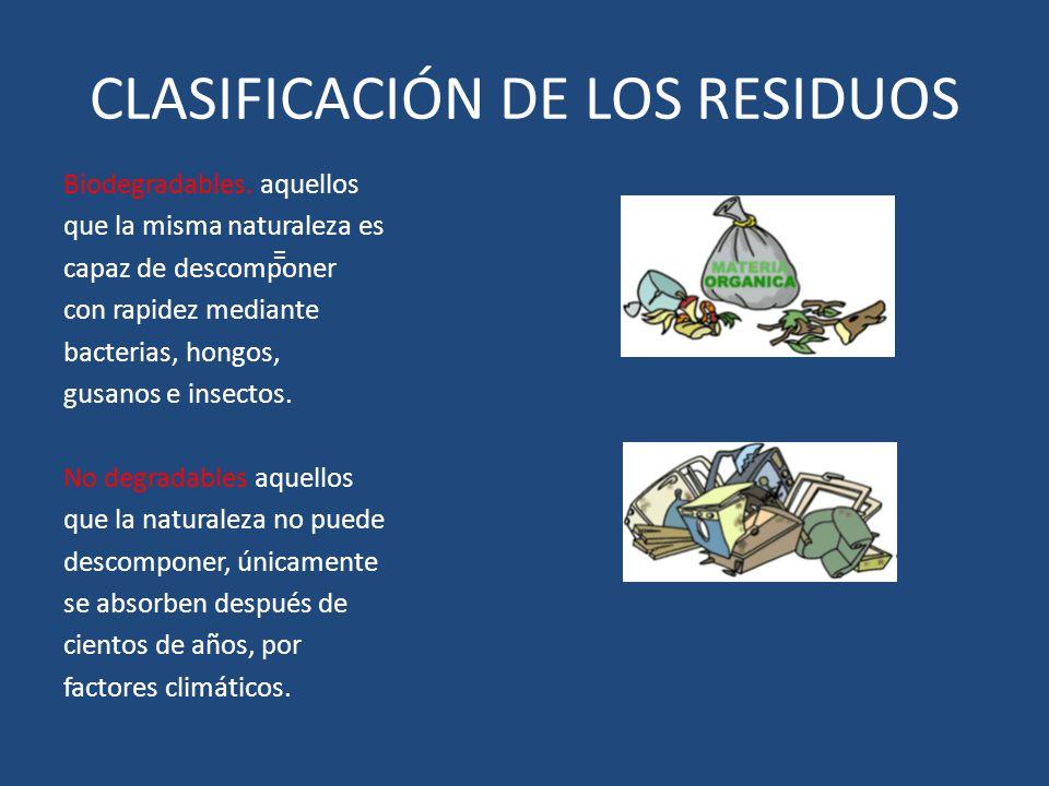 CLASIFICACIÓN DE LOS RESIDUOS Biodegradables. aquellos que la misma naturaleza es capaz de descomponer con rapidez mediante bacterias, hongos, gusanos