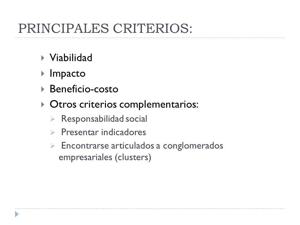 PRINCIPALES CRITERIOS: Viabilidad Impacto Beneficio-costo Otros criterios complementarios: Responsabilidad social Presentar indicadores Encontrarse ar