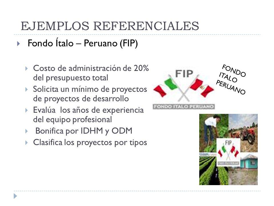 EJEMPLOS REFERENCIALES Fondo Ítalo – Peruano (FIP) Costo de administración de 20% del presupuesto total Solicita un mínimo de proyectos de proyectos d