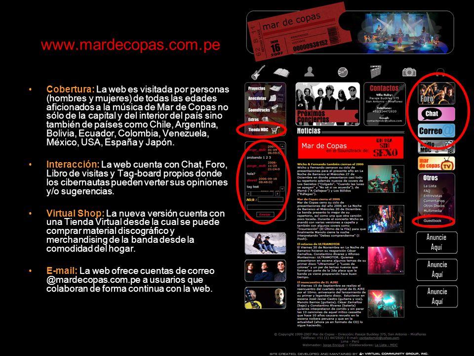 www.mardecopas.com.pe Cobertura: La web es visitada por personas (hombres y mujeres) de todas las edades aficionados a la música de Mar de Copas no sólo de la capital y del interior del país sino también de países como Chile, Argentina, Bolivia, Ecuador, Colombia, Venezuela, México, USA, España y Japón.