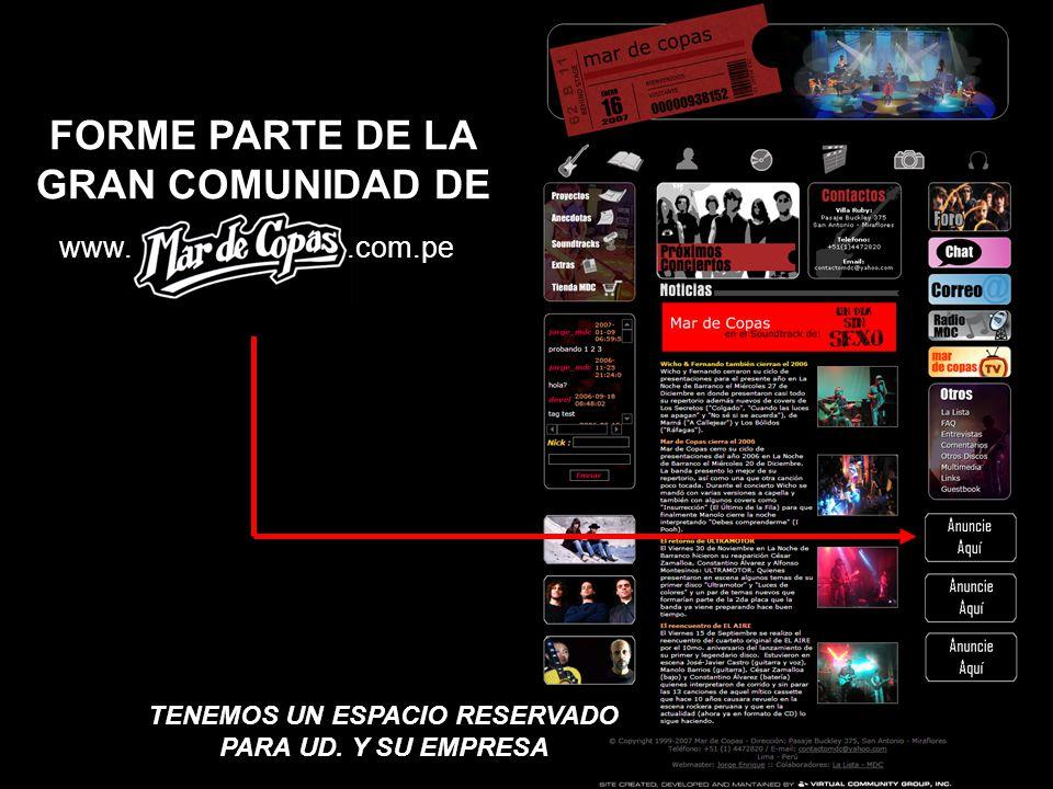 www.mardecopas.com.pe Webmaster: Jorge Enrique jorge_mdc@hotmail.com je_mdc@yahoo.com 97379328 - 97810822 Diseño y Programación: Virtual Community Group (www.vc-group.net) Colaboradores: La Lista de Interés de Mar de Copas Web Hosting: Lunarpages (www.lunarpages.com) Dominio: Red Científica Peruana (www.nic.pe)