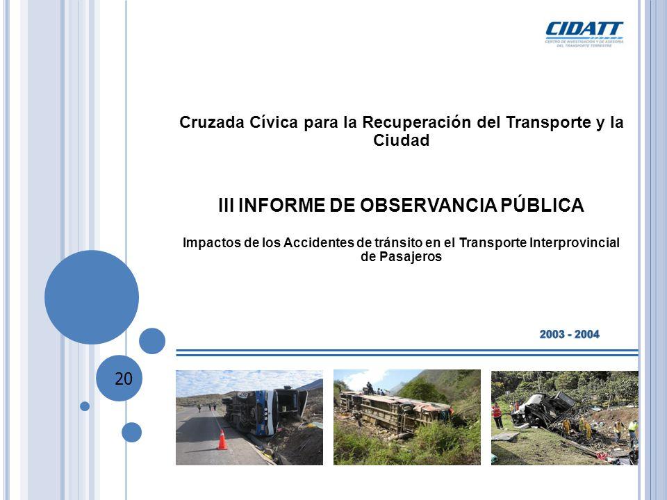 Cruzada Cívica para la Recuperación del Transporte y la Ciudad III INFORME DE OBSERVANCIA PÚBLICA Impactos de los Accidentes de tránsito en el Transporte Interprovincial de Pasajeros 20