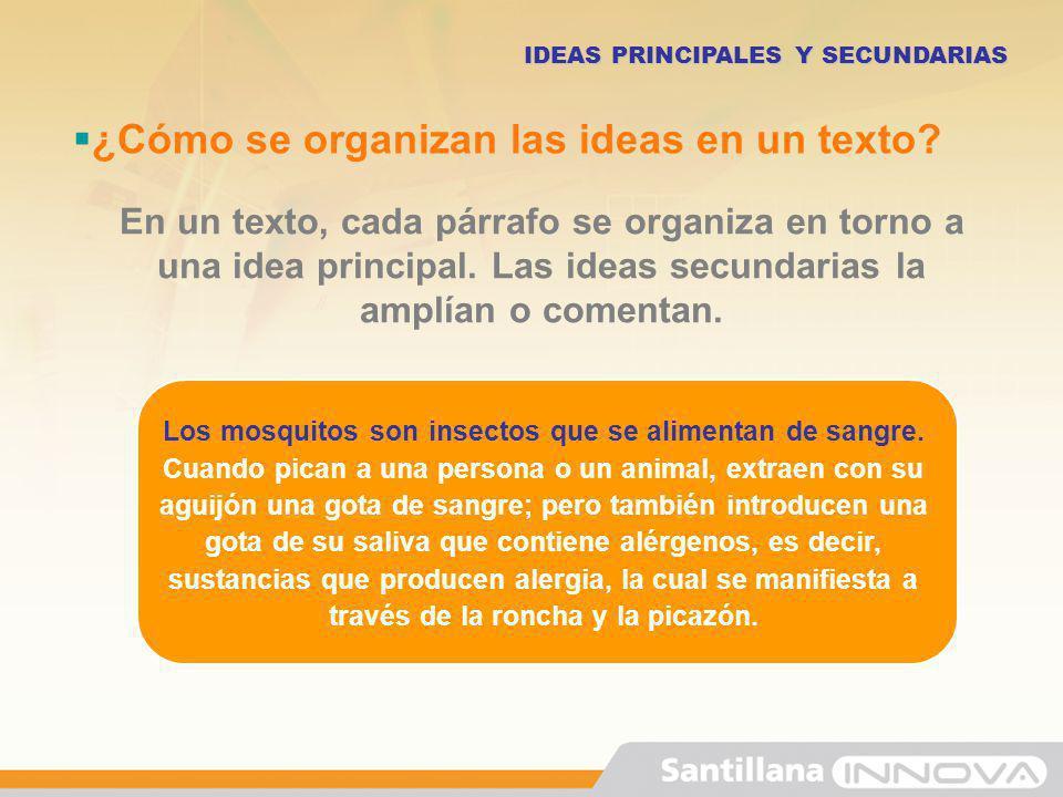 En un texto, cada párrafo se organiza en torno a una idea principal. Las ideas secundarias la amplían o comentan. ¿Cómo se organizan las ideas en un t